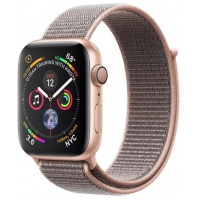 Smartwatch Apple Watch 4, 40mm, LTPO OLED Retina Display, GPS, Bluetooth, Wi-Fi, Bratara Sport Loop Roz, Carcasa aluminiu, Rezistent la apa si praf (Gold)